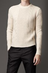 Burberry Aran Knit Cashmere Sweater - Lyst