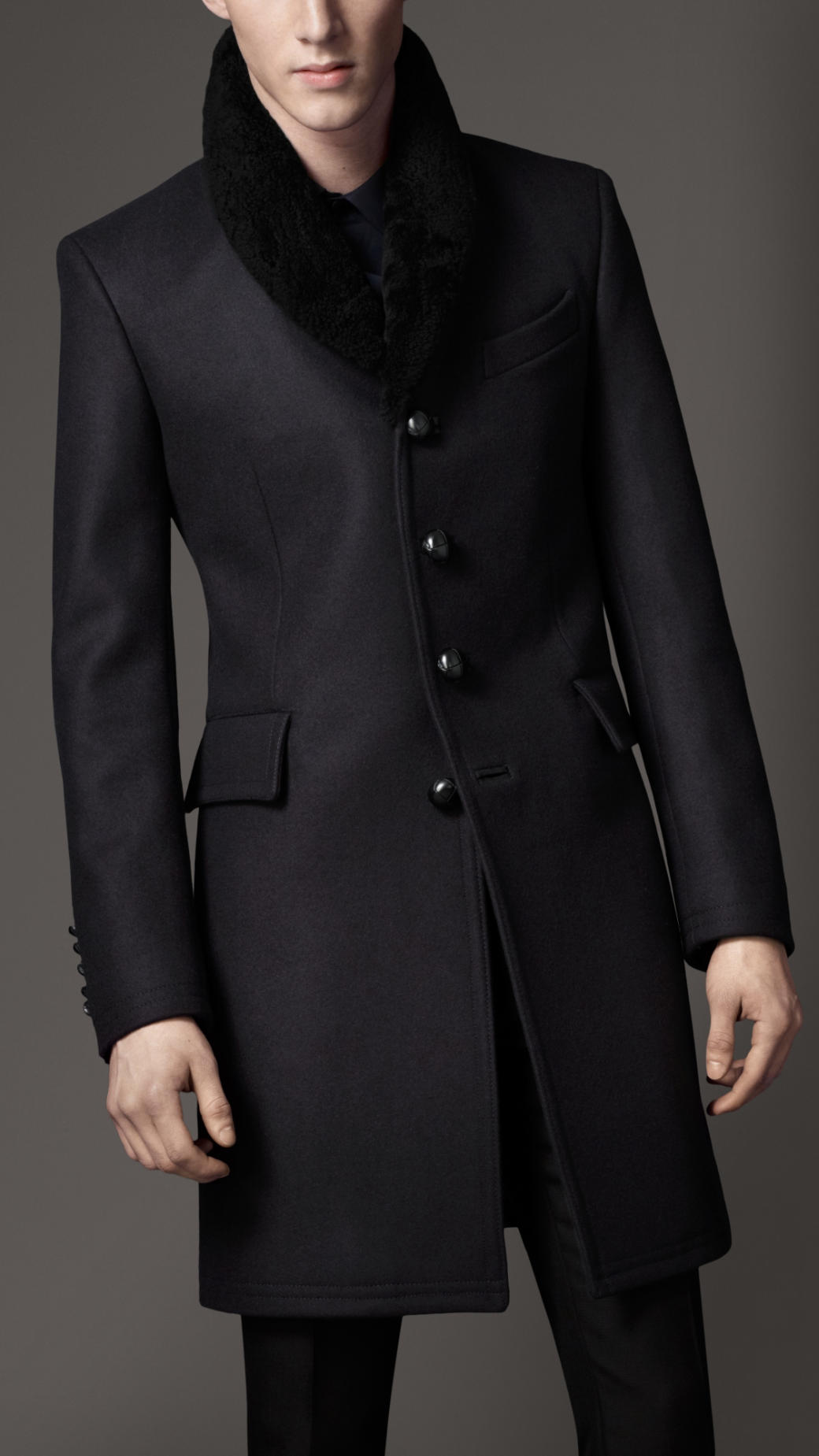 dc3ad2a6e5f Lyst - Burberry Shearling Collar Top Coat in Black for Men