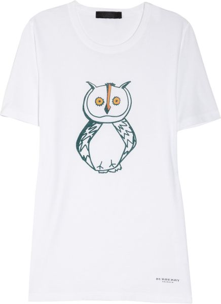 Burberry Prorsum Owl Print Cotton TShirt in White - Lyst