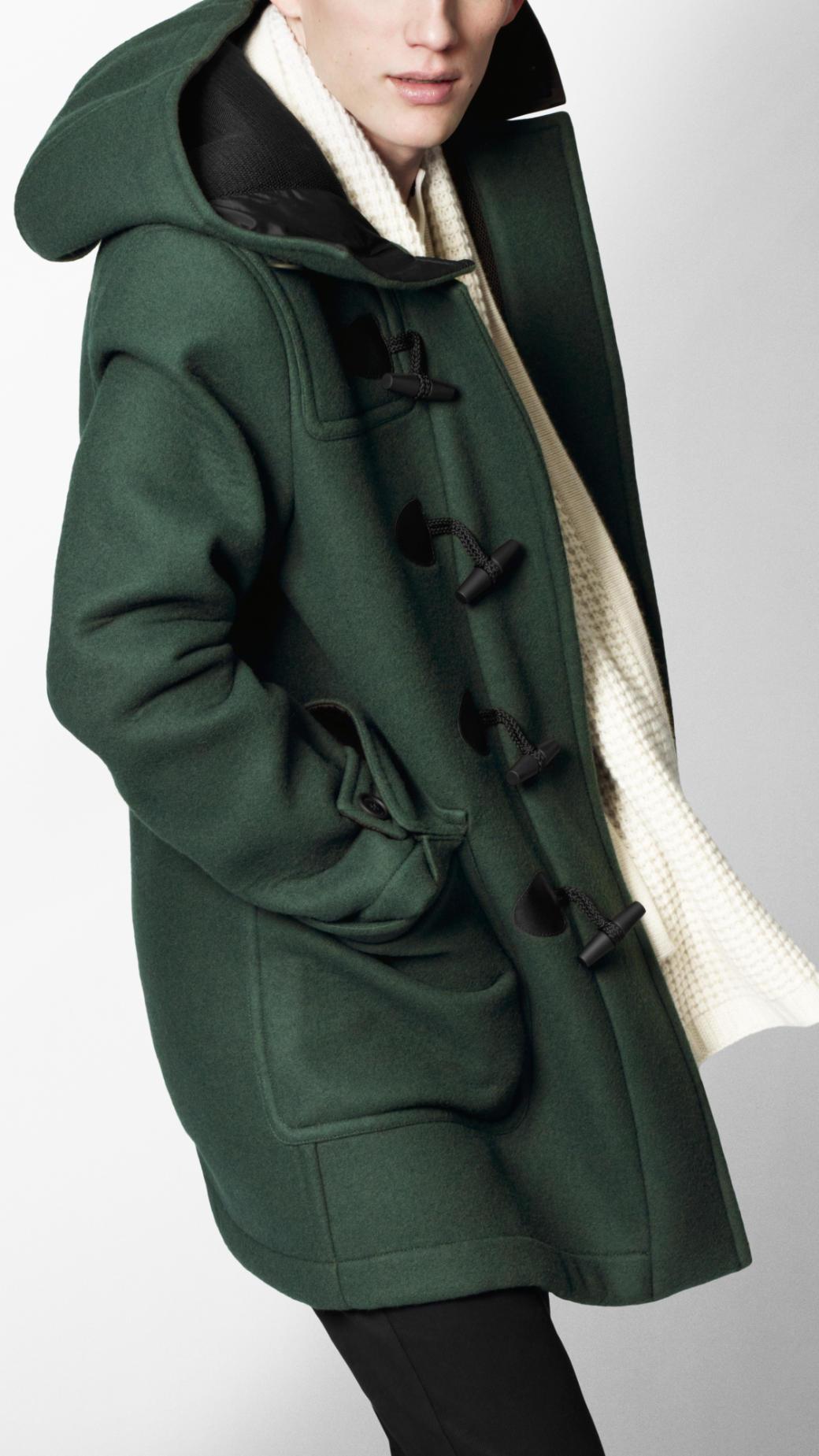 Burberry sport Bonded Wool Blend Duffle Coat in Green for Men | Lyst
