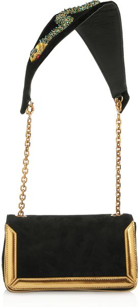 Christian Louboutin Artemis Medusa Suede Shoulder Bag in Black - Lyst