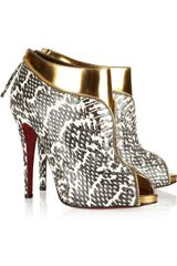Christian Louboutin Col Zippe 120 Leather and Python Ankle Boots - Lyst