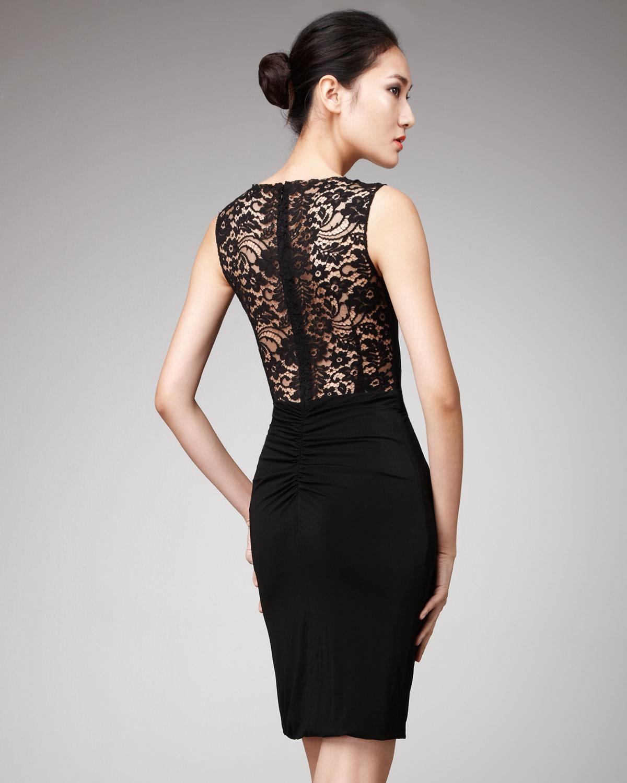 Dolce &amp- gabbana Lace-shoulder Dress in Black - Lyst