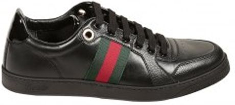 Gucci Low Tail Leather Web Sneakers in Black for Men (white) - Lyst