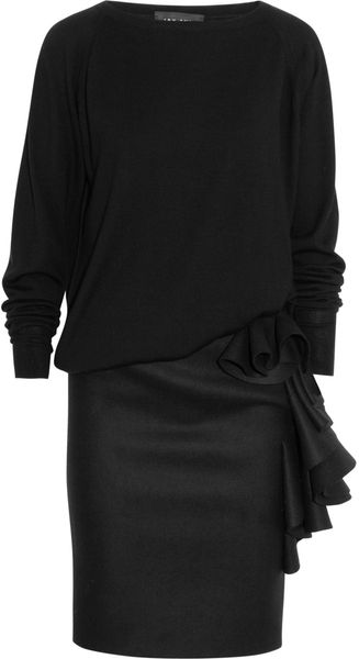 Jay Ahr Fine Knit Wool Blend and Ruffled Wool Felt Dress - Lyst