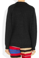 Marni Leather and Woolblend Cardigan in Black - Lyst