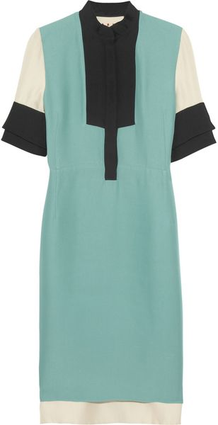 Marni Colorblock Crepe Dress - Lyst