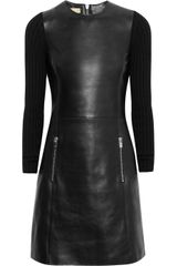 Michael Kors Ribbedknit and Leather Dress - Lyst