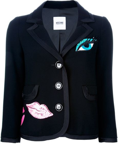Moschino Cheap & Chic Lips Detail Blazer in Black - Lyst