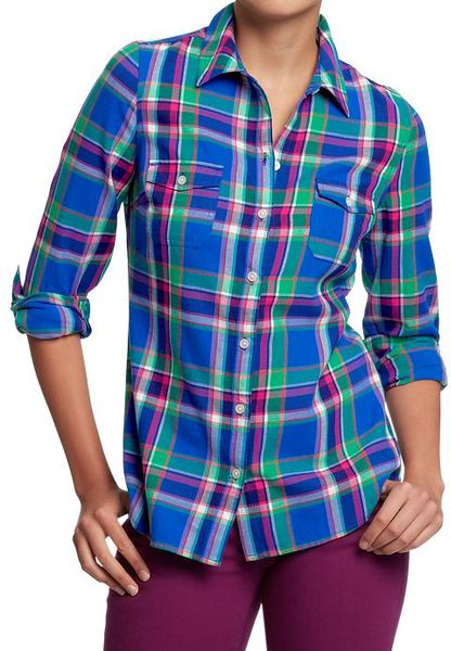 Old navy womens plaid flannel shirts male models picture for Navy blue plaid shirt