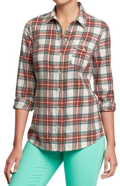 Old navy plaid flannel shirts in red red tartan lyst for Navy blue and red flannel shirt