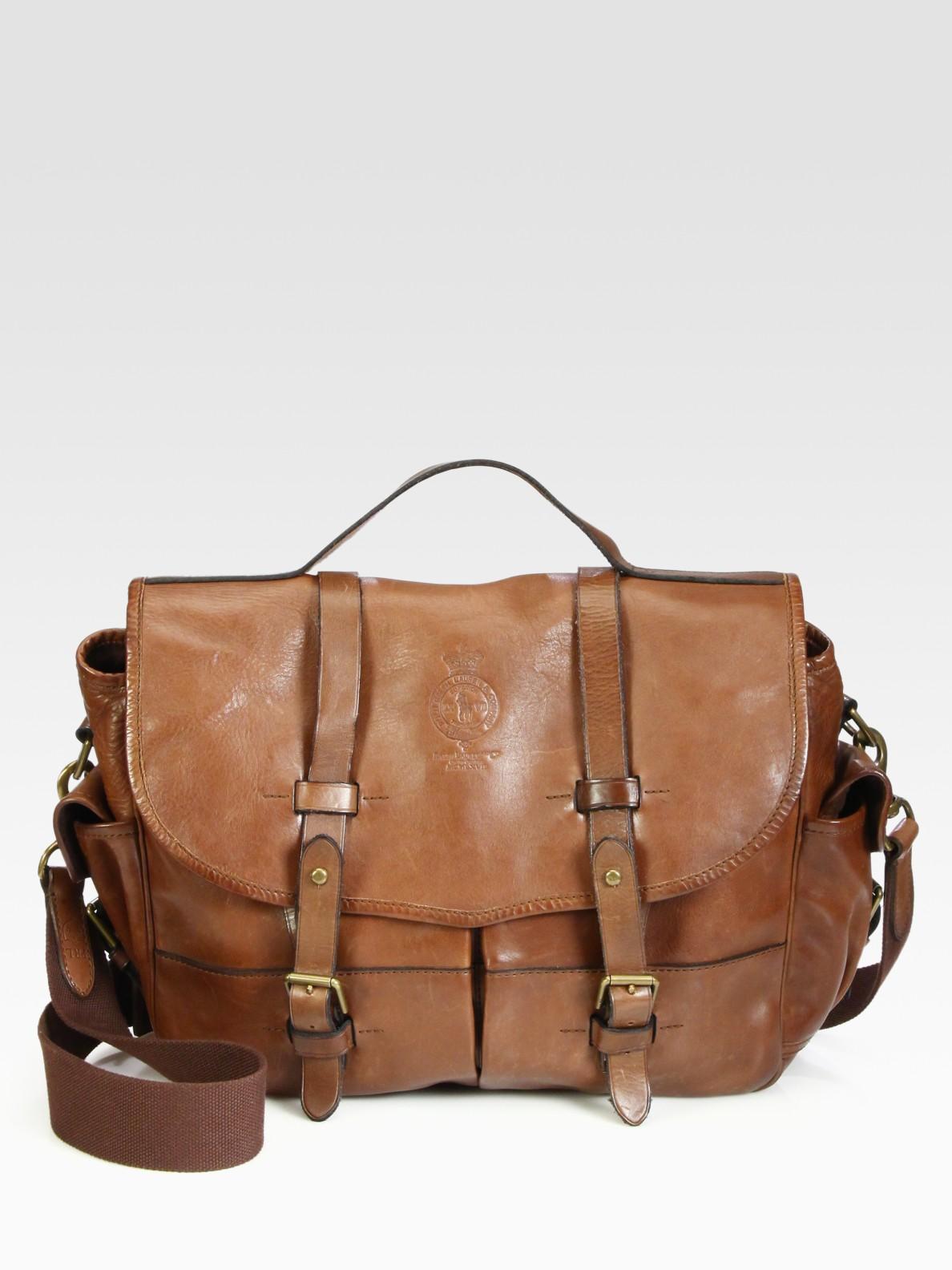 6af0d33788d5 Lyst - Polo Ralph Lauren Leather Messenger Bag in Brown for Men