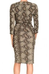 Roberto Cavalli 34 Sleeve V Neck Jersey Curled Python Print Dress in Animal (dove grey) - Lyst