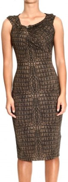 Roberto Cavalli Short Sleeve Curled Jersey Crocodile Print Dress in Brown (marron) - Lyst