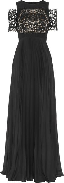 Temperley London Catherine Lace and Pleated Chiffon Gown in Black - Lyst