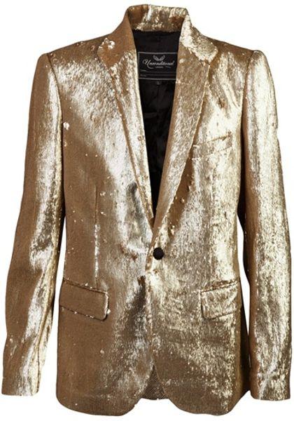 Unconditional Sequin Blazer In Gold For Men Lyst