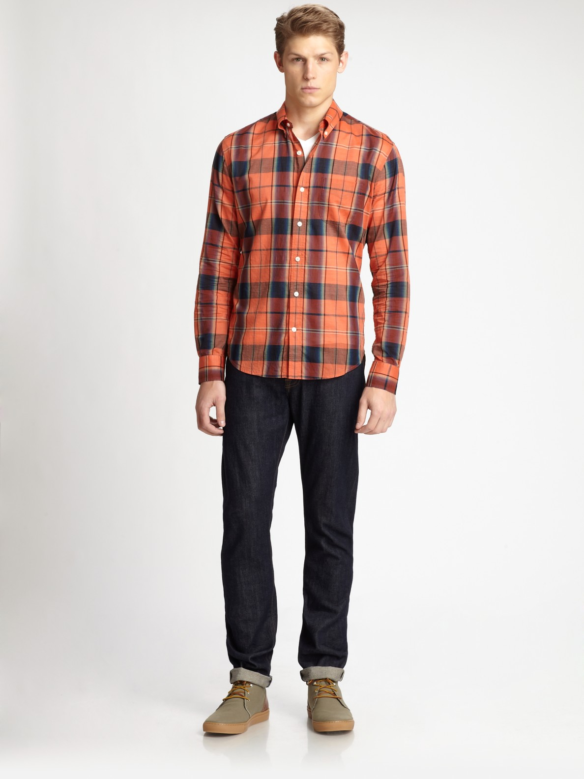 Vince Cotton Plaid Button Down Shirt In Red For Men Steel