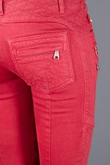 Balmain Zip Detailed Jean in Red - Lyst