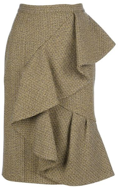 Burberry Prorsum Ruffle Wool Skirt in Brown - Lyst