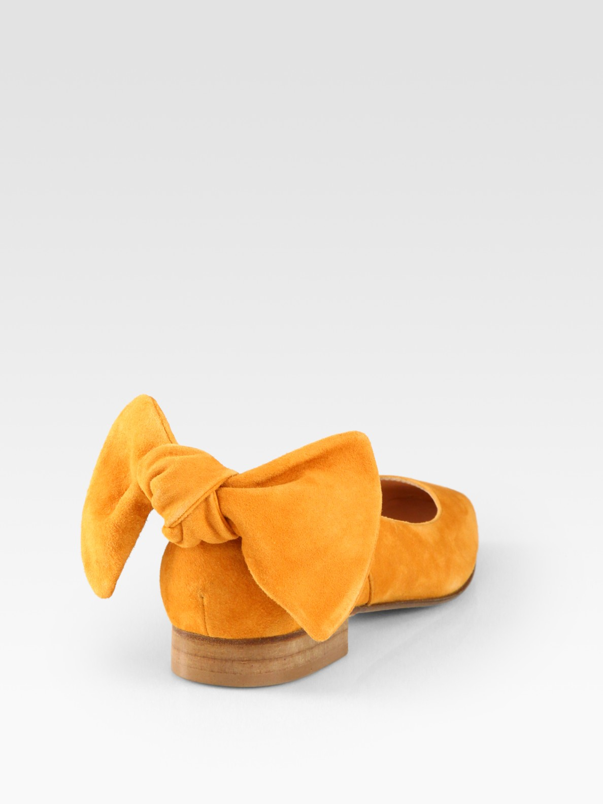 9e2415c5572b Lyst - Carven Suede Bow Ballet Flats in Yellow