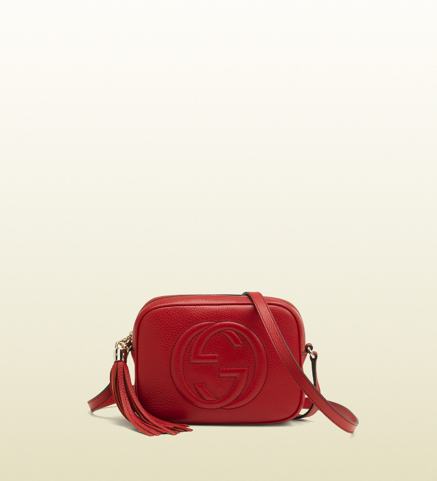 ec34093ceccdd Lyst - Gucci Soho Leather Disco Bag in Red