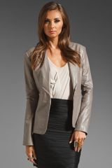 Halston Heritage Long Sleeve Leather Blazer W Knit Detail - Lyst