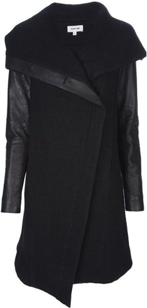 Helmut Lang Leather Sleeve Coat in Black - Lyst
