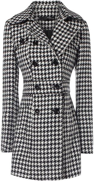 Jane Norman Dogtooth Check Coat - Lyst
