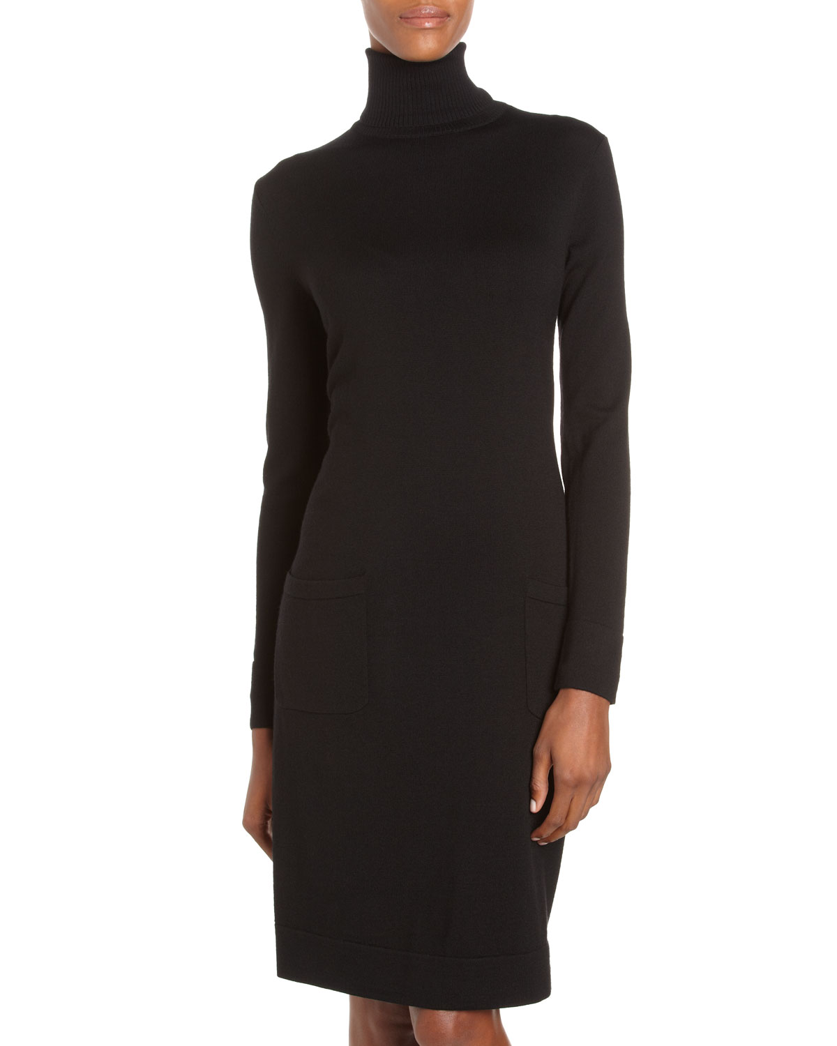 Lafayette 148 New York Turtleneck Sweater Dress Black in Black | Lyst