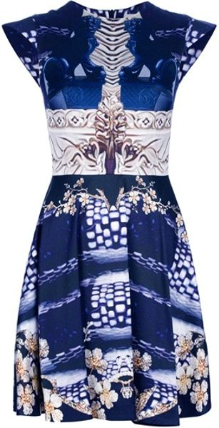 Mary Katrantzou Pattern Panel Dress in Blue - Lyst