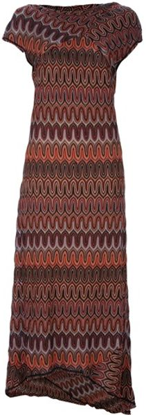 Missoni Capped Sleeve Dress in Brown - Lyst