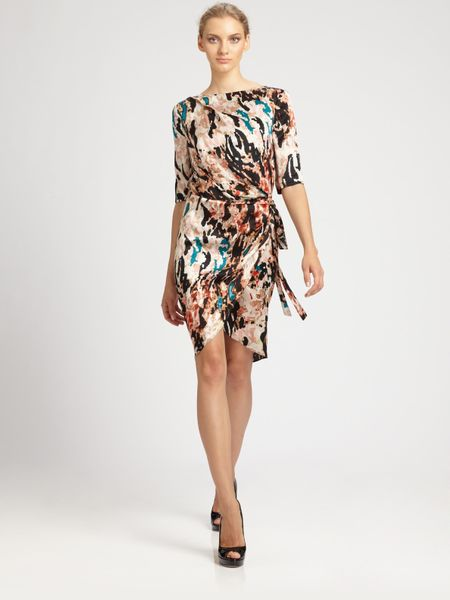 Rachel Roy Landscape Printed Wrap Dress in Black