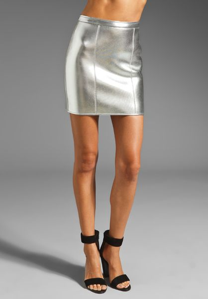 Sass & Bide The Star Turn Metallic Neoprene Mini Skirt in Silver