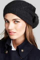 Surell Knit Hat with Rabbit Pom - Lyst