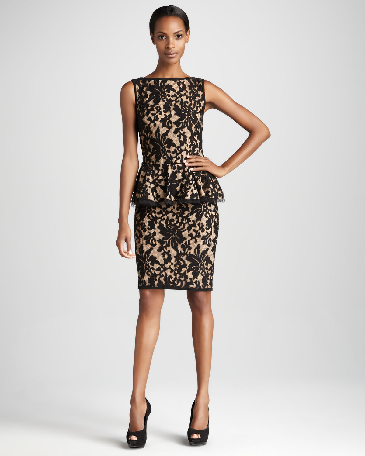 Tadashi shoji Sleeveless Peplum Cocktail Dress with Lace Overlay ...