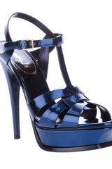 Saint Laurent Metallic Sling Back Sandal in Blue - Lyst