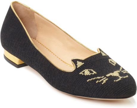 Charlotte Olympia Ss Black Kitty Flat in Black - Lyst
