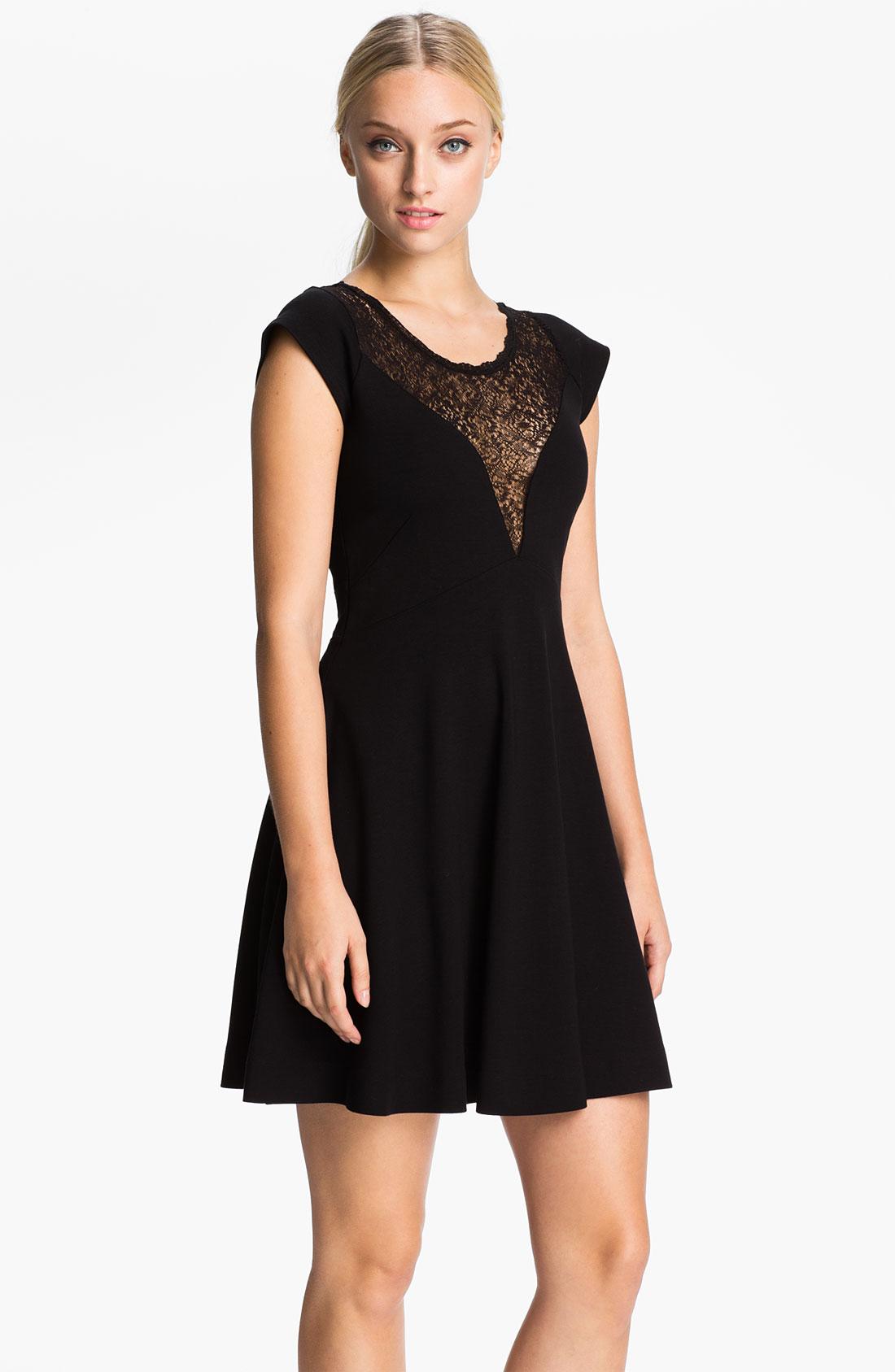 Black lace yoke skater dress
