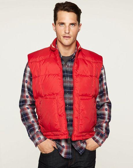 Lucky Brand Schott Down Vest In Red For Men Lyst