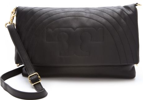 Tory Burch Stitched Logo Messenger Bag in Black - Lyst