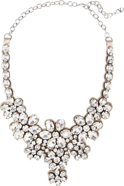 Valentino Floral Glass Crystal Necklace in White (floral)