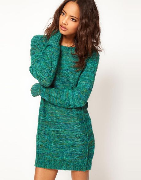 Asos collection asos ovoid sleeve jumper dress in green lyst