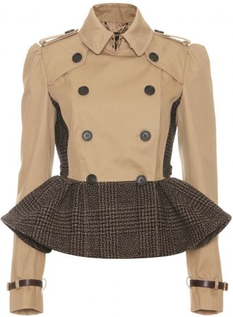 Burberry Prorsum Trench Jacket with Tweed Peplum - Lyst