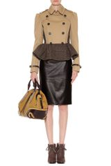 Burberry Prorsum Trench Jacket with Tweed Peplum in Beige (ash) - Lyst