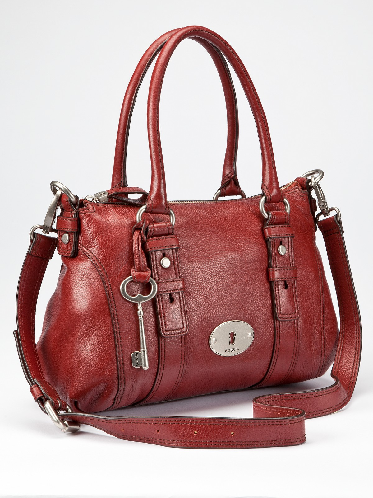 Fossil Fossil Maddox Leather Satchel Bag In Brown Red Lyst