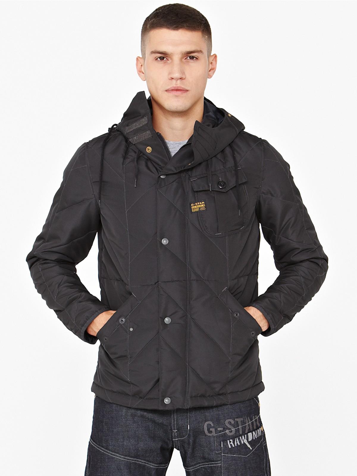 g star raw hooded jacket in black for men raven lyst. Black Bedroom Furniture Sets. Home Design Ideas