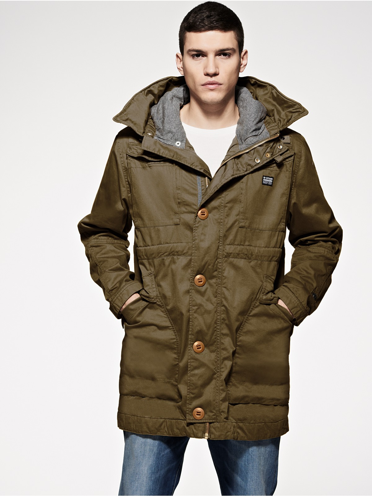 g star raw long parka coat in green for men wild olive. Black Bedroom Furniture Sets. Home Design Ideas