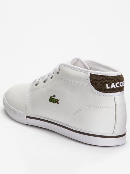 lacoste thill leather mens boots in white for lyst