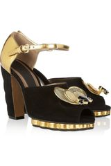 Marni Jewel Beeembellished Metallic Leather and Suede Sandals - Lyst