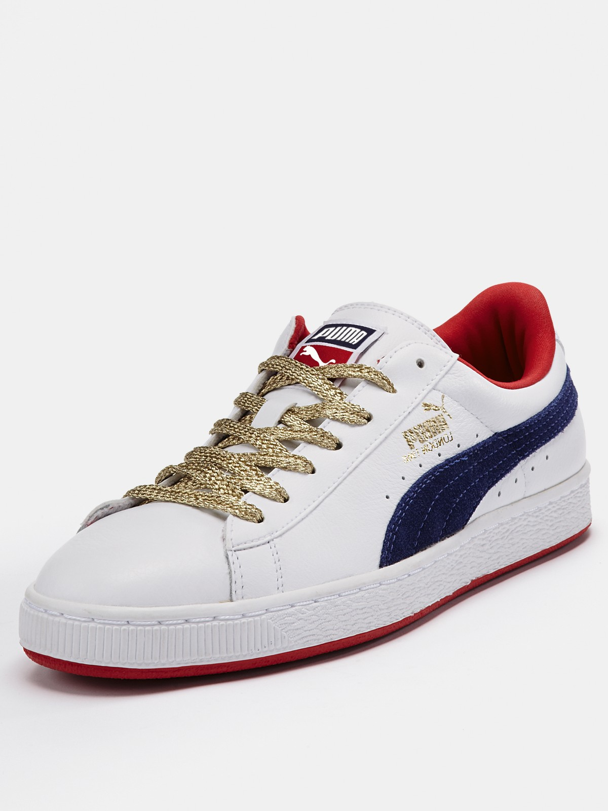 puma puma basket classic leather mens trainers in white for men white navy red lyst. Black Bedroom Furniture Sets. Home Design Ideas
